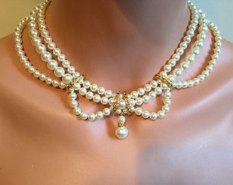 COMPLETE Bridal Jewelry Set Pearl Necklace Bracelet Earrings 3 multi strand Swarovski pearls Vintage Victorian style Ivory gold wedding sets