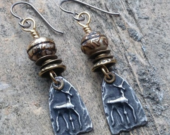 Artisan Earrings #20....Carved pearl prayer beads and pewter