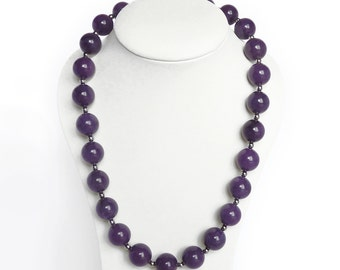 Purple Necklace - Amethyst Chunky Bead Necklace - Purple Stone Jewelry - Calcite Necklace