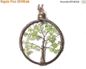 20% OFF Sale Tree of Life Antiqued Copper Necklace in Peridot.