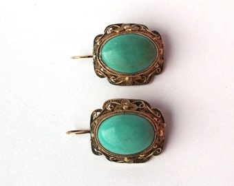 Art Deco Chinese Silver Gilt Filigree Turquoise Cabochon Earrings - Converted from Screwbacks to Pierced