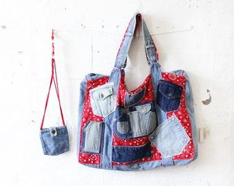 Patchwork Denim Tote Bag • Large Tote Bag • Handmade Tote Bag • Art Teacher Bag • Bag with Pockets • Red Bandana Beach Bag   B429