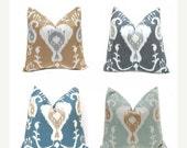 Sale Euro Sham Pillow Cover - One Ikat Pillow Cover - 24 x 24 - Decorative Pillow Covers - Java Spa Ikat - Ikat Pillow Shams - Gray Pillow C