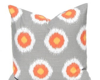 SALE Decorative Pillow Covers - Orange and Gray - Fall Pillow Covers - Throw Pillow Covers - Thanksgiving Decor - Orange Cushion Covers