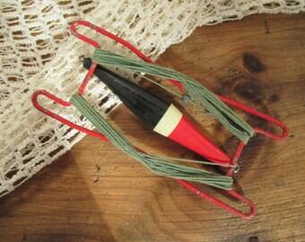 Vintage Fishing Handline Bobber - Metal Hand Line - Wooden Bobber - Red Black - Country Cottage Rustic Decor