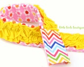 Ruffled Camera Strap Cover Padded with Small Lens Cap, Business Card, Candy Pocket- Jersey Yellow Pink Daisies Rainbow Chevron Ann Kelle