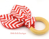 All Natural Wood Baby Teething Ring- Red Chevron Remix Ann Kelle - Great Gender Neutral, Shower Gift