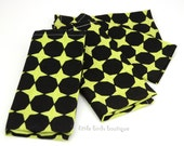 READY TO SHIP! Cloth Napkins 15 Inch Set of 4 in Atomic, Disco Dot, Mid Century Modern Black Dots on Olive Green