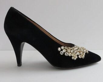 Vintage Black Velvet Pumps 9.5M/Maude Frizon/Rhinestone Trim/Black Velvet Evening High Heels/Black Velvet Heels Rhinestone Trim/9.5