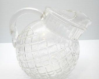 Vintage Glass Tilted Ball Pitcher