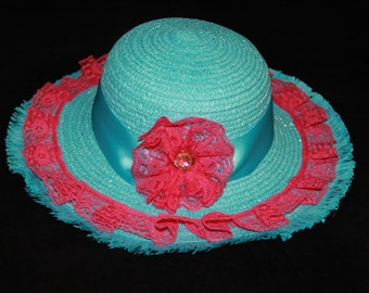 Tea Party Hat - Turquoise Blue Easter Bonnet with Pink Lace - Girls Sun Hat - Blue Easter Hat - Sunday Dress Hat - Derby Hat - 1516