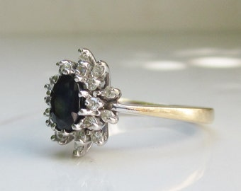 On Hold for Lauren Payment Two- Vintage Oval Cut Genuine Blue Sapphire and Diamond Double Halo Ring Set in 14k Solid Yellow Gold, Size 6.25