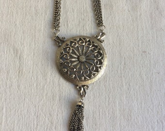 Vintage medallian necklace   Tassle medallion necklace retro modern