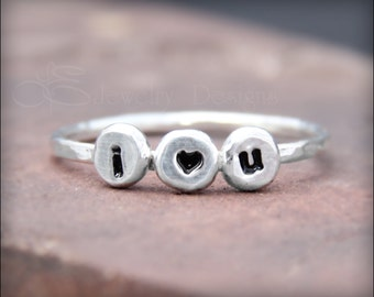 I LOVE YOU RING - ready to ship - size 8 1/2 (8.5) - i heart you ring, love ring, pebble ring, love ring, hand stamped heart ring
