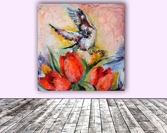 Red Attraction - Sparrow and Red Tulips - FREE SHIPPING Modern Original Oil Painting, Ready to Hang