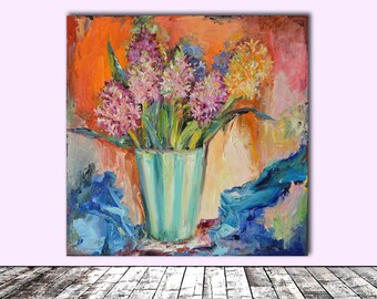 Hyacinth Flowers in Silk - FREE SHIPPING Modern Original Floral Oil Painting, Ready to Hang