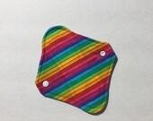 "Cloth Panty Liner Organic Cotton Fleece 8"" Rainbow Stripe"
