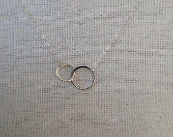 Sterling Silver Connecting Rings Necklace on Sterling Chain