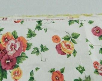 3+ Yds, Waverly Pretty Pansies Fabric, Scotchgard, 100% Cotton,Chintz, Upholstry 1980s 1990s