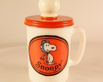 Vintage Avon Snoopy Soap Mug  Milk Glass  Cup