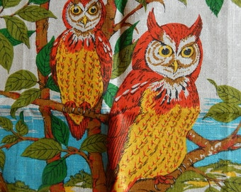 Vintage Parisian Prints Linen Towel with Owls, 1970s, New with Tag