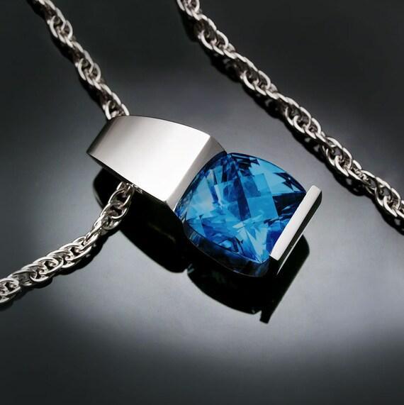 blue topaz necklace, London blue topaz, December birthstone, silver pendant, wedding necklace, Argentium Silver, gifts for her - 3431