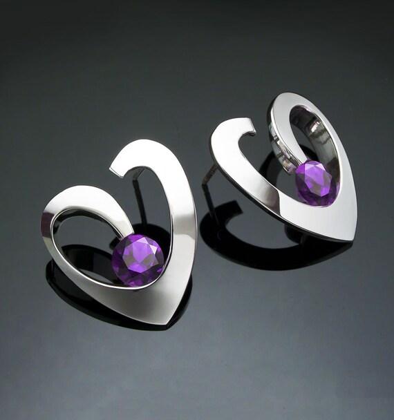 amethyst earrings, heart earrings, February birthstone, amethyst jewelry, purple earrings, for her, birthday gift, artisan jewelry - 2401