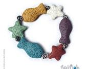 Lava Star and Fish Bracelet
