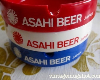 ASAHI Beer Ashtrays Melamine Red White and Blue Unused