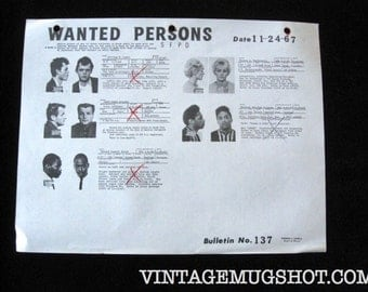 Police Bulletin No. 137 San Francisco Police Department SFPD Wanted Mug Shots 1967 Escapee- Drug addict- Kidnapper