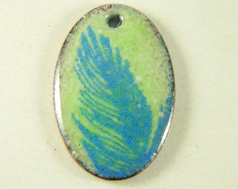 Blue and Green Feather Enameled Pendant