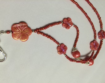 Coral Beaded Lanyard / Beaded Lanyard / ID Badge Holder