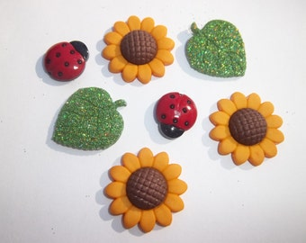 Sunflower Magnets / Set of Seven Magnets / Fall Magnets / Nature Magnets / House Warming Gift  / Fridge Magnets / Office Magnets