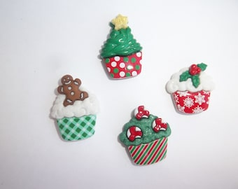 Christmas Cupcake Magnets / Set of Four Holiday Magnets / Fun Magnets / Christmas Magnets / Food Magnets