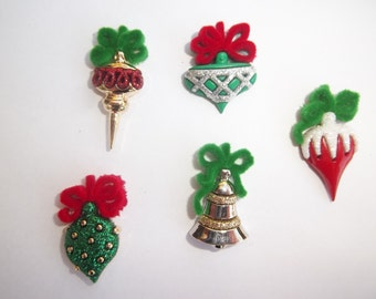 Christmas Ornament Magnets / Set of Five Holiday Magnets / Fun Magnets / Christmas Magnets / Ornament Magnets
