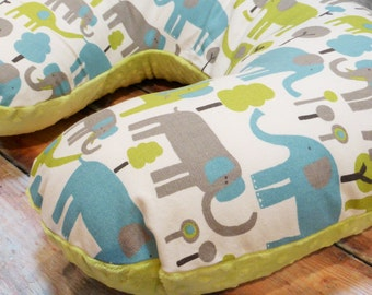 Nursing Pillow Cover, Gender Neutral, Trunk Tales Boppy Cover with apple green minky