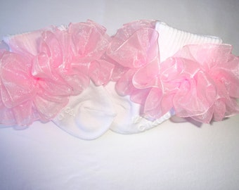 Light Pink Sheer Organza Ruffled Ribbon Socks