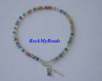Multicolored Crystal Ankle Bracelet - Anklet, ankle jewelry, leg jewelry, crystal , crystal anklet, crystal ankle bracelet