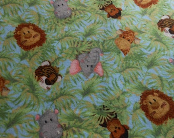 ANIMALS Adorable Swaddling Receiving Blanket Jungle Animals on Blue Green