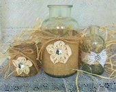 3 Clear Glass Vases Decorated with Burlap and Flowers Rustic Decor