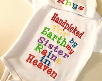 Rainbow baby outfit with onesie and hat with name