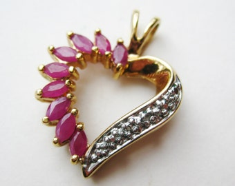 Vintage Gold Vermeil Sterling Silver Marquis Cut Rubies Sweetheart Heart Shaped Necklace Pendant