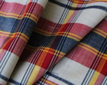 1960s Madras Plaid Fabric - 2.5 Yards x 40.5 Inches Wide - 60s Cotton & Acetate - Red - Navy Blue - White - Yellow - 1960s Yardage - 46659