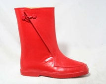 Child Size 13 Red Galoshes - Authentic 1960s Child's Keds Rain Boots - Waterproof Rubber Overshoe - 60s Mid Century Deadstock - 43678-1
