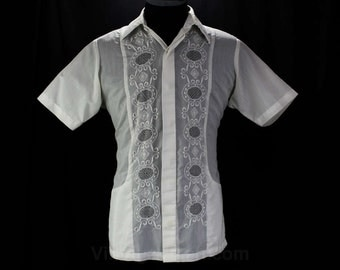 Men's Large Wedding Shirt - 1960s White Mens Resort - Hand Tailored - Embroidery & Drawn Work - Short Sleeved 60s Top - Chest 46 - 46392