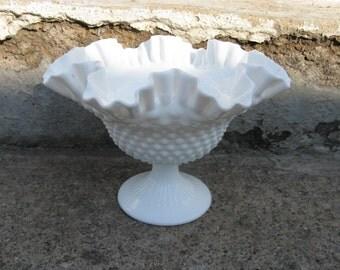 fenton hobnail fenton compote fenton milkglass double ruffle wedding glass mid century feminine cottage shabby