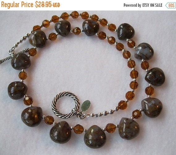 ON SALE Brown and Amber Crystals Necklace