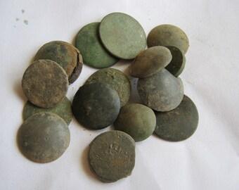 Relics of vintage metal buttons, dig find