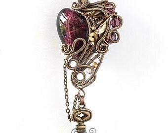 OOAK Purple steampunk heart pendant with key
