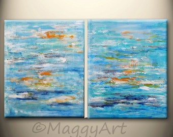 original abstract painting ON SALE, 40x16inch or 32x20inch,blue ocean,orange,sea,pallette knife painting,impasto wall art home office decor